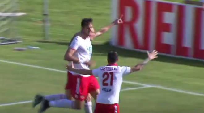 La gioia di Romero (Piacenza Calcio) dopo il gol