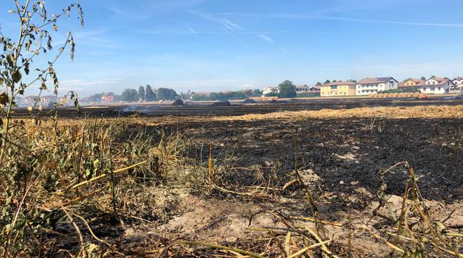 Incendio nei campi a San Nicolò
