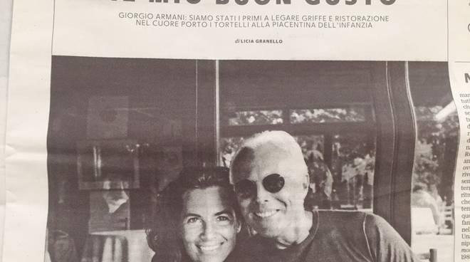 Pagina di Repubblica con Giorgio Armani