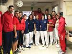 I giocatori della Bakery Piacenza in visita al reparto di Pediatria dell'ospedale