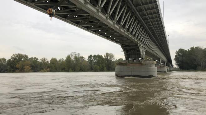Il fiume Po il 31 ottobre 2018