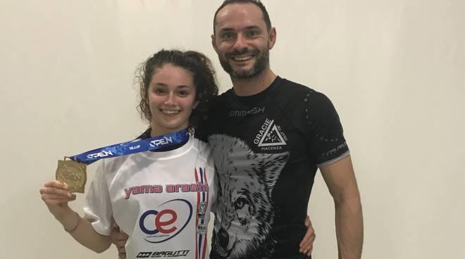 Giada Pedretti (C.E. Yama Arashi) con l'istruttore Emanuele Baldanti