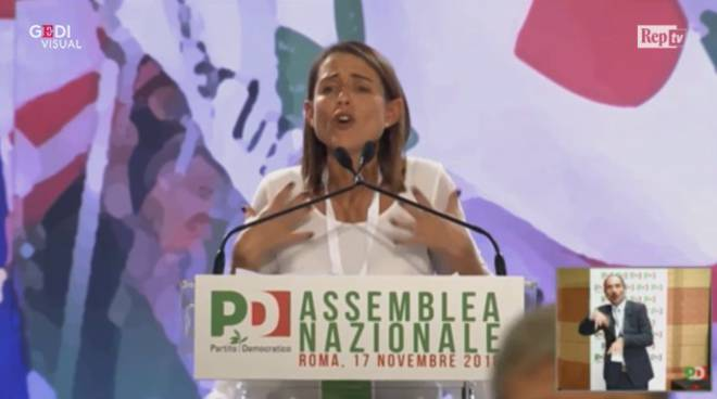 Katia Tarasconi all'assemblea Pd