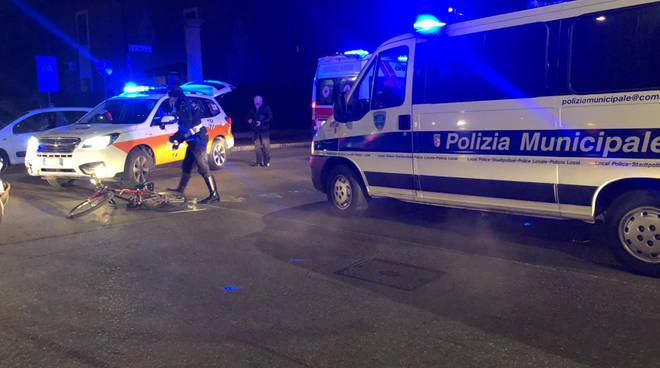 L'incidente che ha coinvolto il ciclista in via Millo
