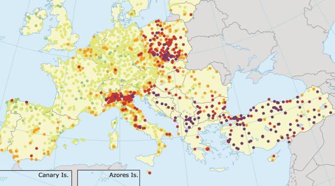 mappa inquinamento europa pm10