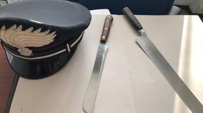 I coltelli sequestrati dai carabinieri