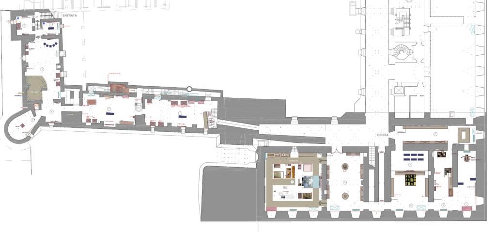 sezione romana a Palazzo Farnese planimetria