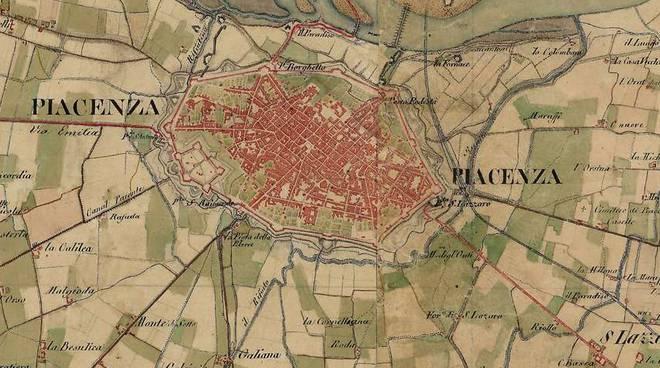 Piacenza nell'800 la mappa