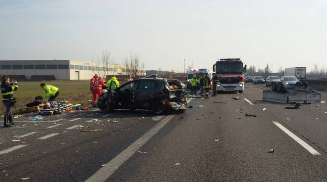 tamponamento in autostrada a Fiorenzuola