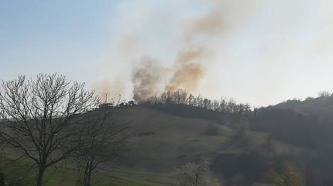 incendio di bosco a Sariano