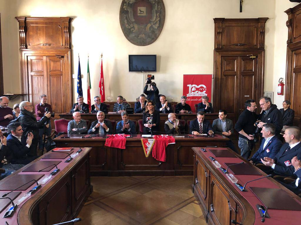 100 anni di Piacenza Calcio. La visita in Comune