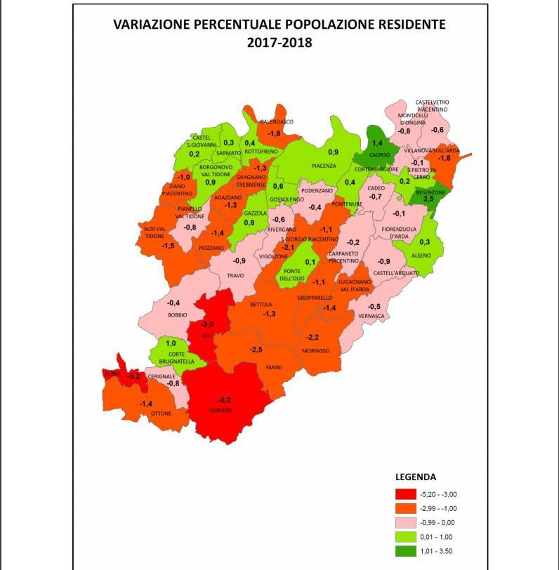 variazione popolazione comuni 2018