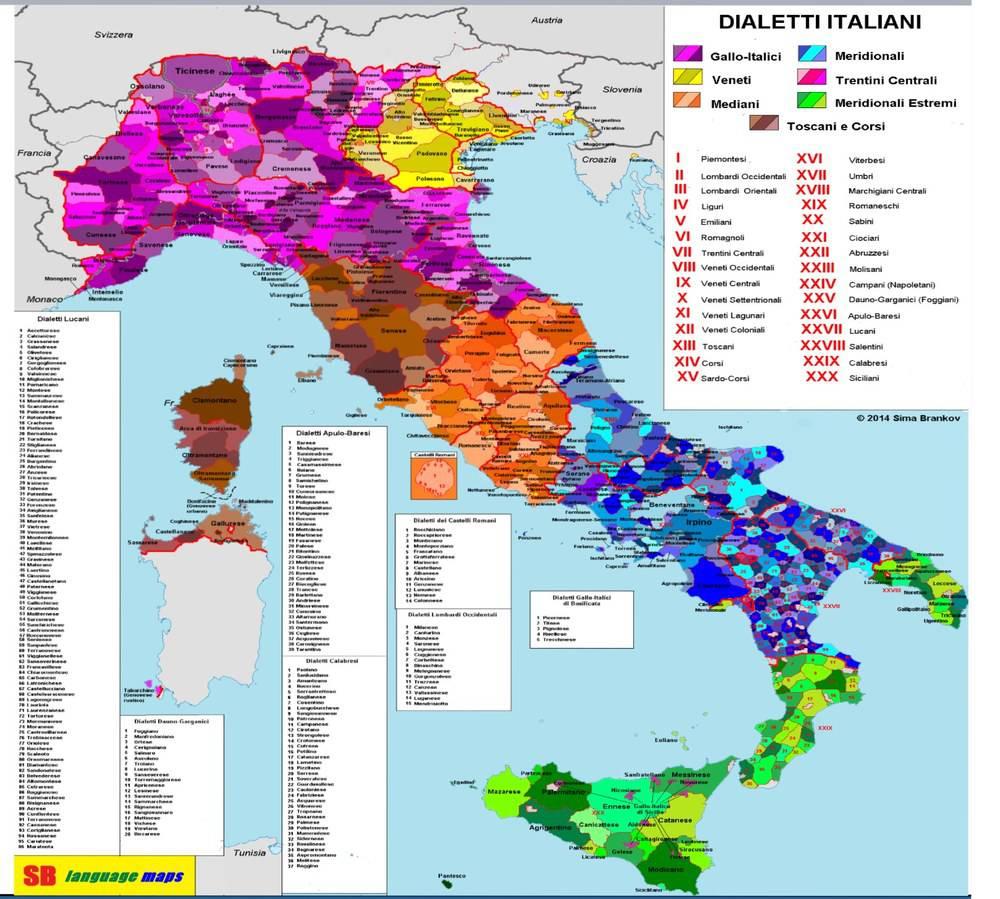 mappa dei dialetti