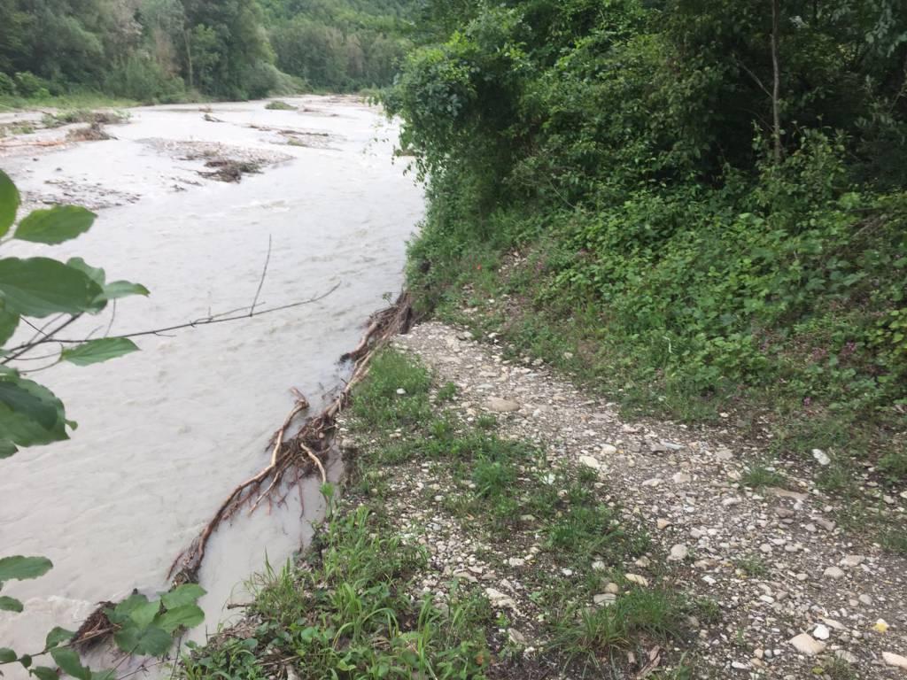 Tratto Trevozzo-Nibbiano del Sentiero del Tidone danneggiato