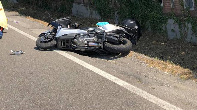 La moto coinvolta nell'incidente a Rivergaro