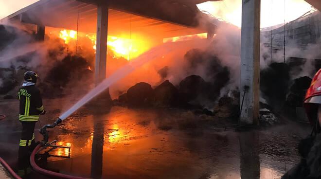 L'incendio a Podenzano