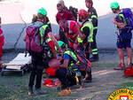 L'intervento di soccorso all'escursionista ferito