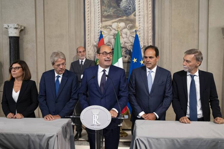 La delegazione del Pd al Quirinale (Foto dal sito del Quirinale)