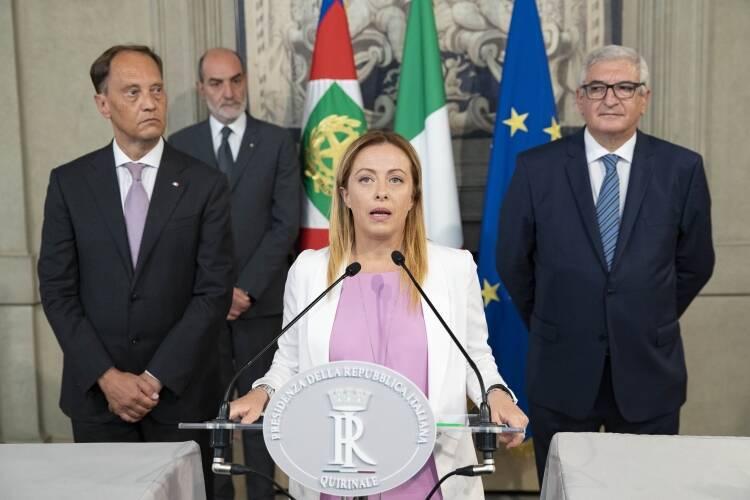 La delegazione di Fratelli d'Italia al Quirinale (Foto dal sito del Quirinale)