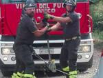 Le operazioni di recupero dei veicolo da parte dei vigili del fuoco
