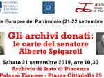 locandina evento GLI ARCHIVI DONATI: LE CARTE DEL SENATORE ALBERTO SPIGAROLI