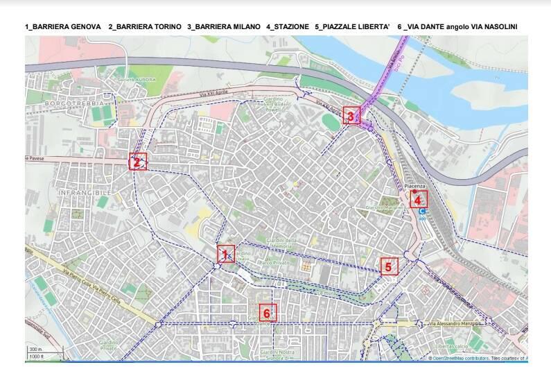 Mappa del giretto d'Italia a Piacenza