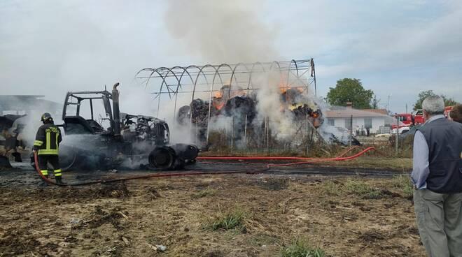 trattore bruciato