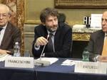 Il ministro Franceschini con il presidente Abi Patuelli e il presidente Sforza Fogliani