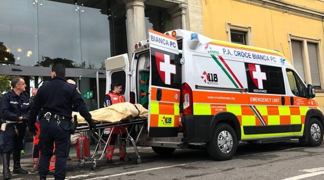Intervento dell'ambulanza in ospedale
