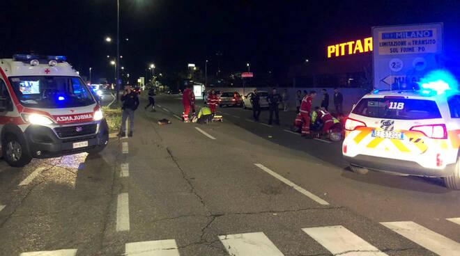 L'incidente in via Emilia Pavese