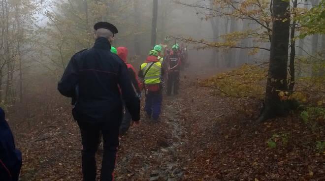 Le ricerche del fungaiolo scomparso in alta Val d'Aveto (foto Soccorso Alpino)