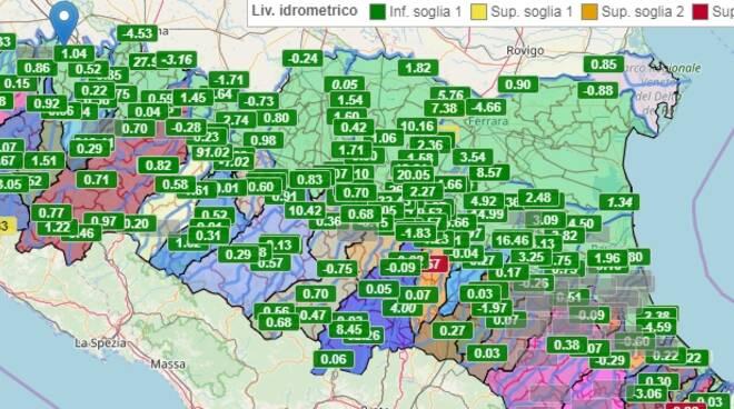mappa monitoraggio piene fiumi protezione civile 21 ottobre 2019
