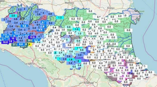 Mappa precipitazioni protezione civile