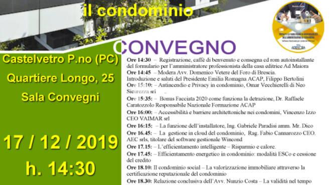 Bonus facciate, antincendio e riqualificazione energetica: convegno ACAP a Castelvetro Piacentino, 17 dicembre 2019
