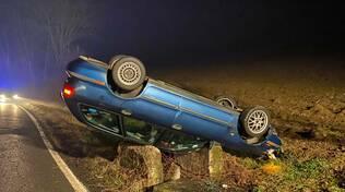 auto ribaltata a Nibbiano