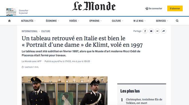 "La notizia del Klimt riportata su ""Le Monde"""