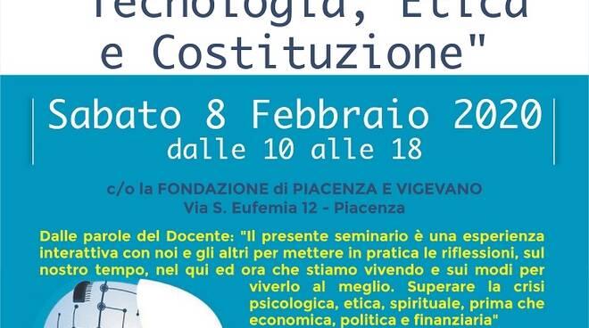 locandina seminario tecnologia, etica e costituzione