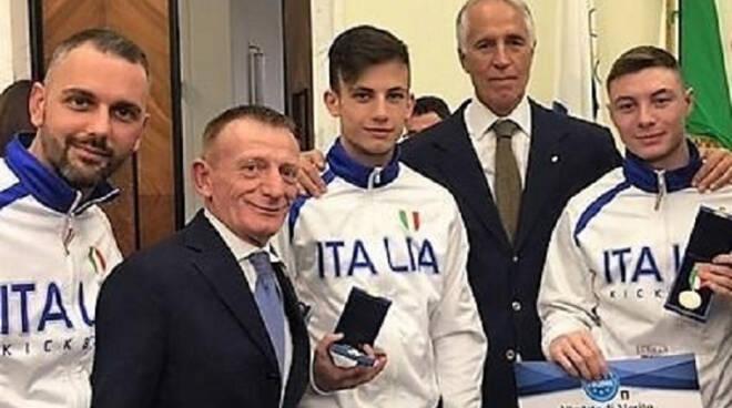 Nella foto, da sinistra Adriano Passaro, Gianfranco Rizzi, Michele Semema, Giovanni Malagò e Davide Colla