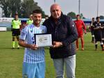 Samuele Barba - con il presidente Giuseppe Rossetti - premiato per le sue 150 partite in biancazzurro