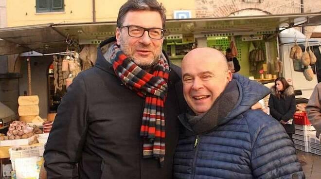 L'onorevole Giorgetti con Maloberti