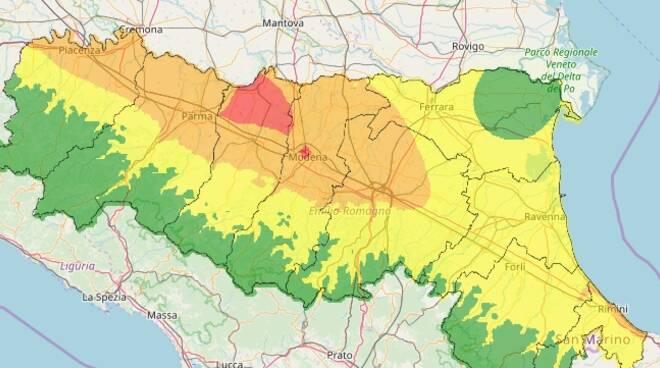 Mappa qualità dell'aria Arpae