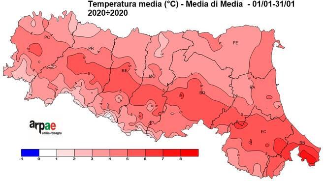 Mappa temperatura gennaio (Arpae)