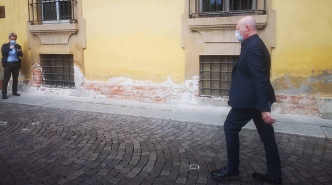 L'arrivo di Bonaccini in Prefettura a Piacenza