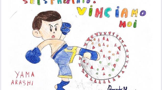 Uno dei disegni realizzati dai giovanissimi della Yama Arashi