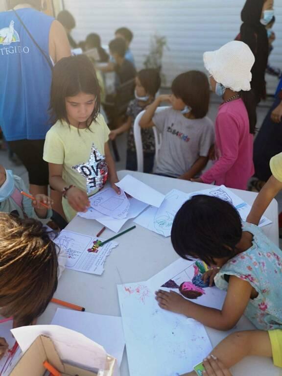 Il campo profughi sull'isola di Lesbo in Grecia