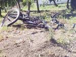 La bicicletta del ragazzo dopo l'incidente
