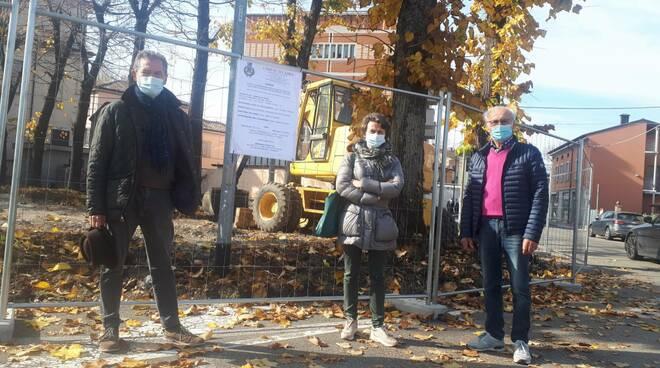 Cantiere lavori piazza del municipio a Roveleto