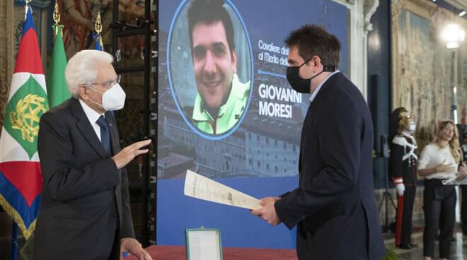 L'onorificenza consegnata a Giovanni Moresi (foto dal sito del Quirinale)