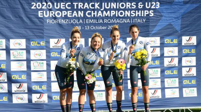 La premiazione del quartetto femminile U23 (Foto Cantalupi)