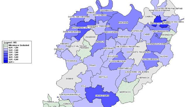 Cartina comuni tasso contagi